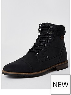 river-island-zip-lace-up-casual-boot-black