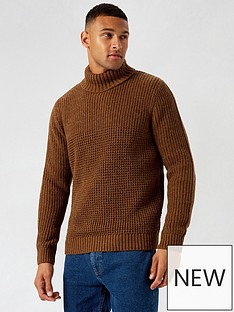 burton-menswear-london-roll-neck-jumper-brown