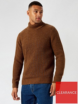 burton-menswear-london-roll-neck-jumper-brown