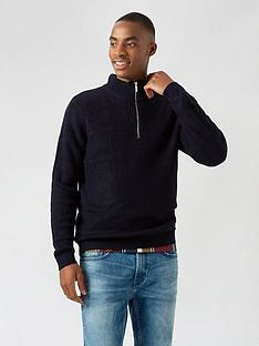 burton-menswear-london-fisherman-knit-half-zip-jumper-navy