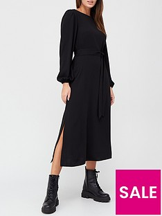 v-by-very-blouson-sleeve-tie-waist-midi-dress-black