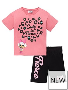 lol-surprise-girlsnbsplol-surprisenbsp2-piece-cute-but-fierce-t-shirt-amp-cycling-shorts-set-pink