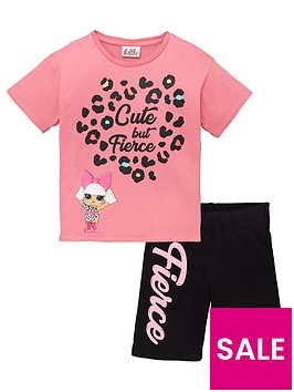 lol-surprise-girlsnbsplol-surprisenbsp2-piece-cute-but-fierce-t-shirt-amp-cycling-shorts-set-pink