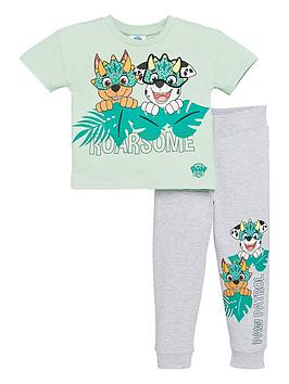 paw-patrol-boys-2-piece-roarsome-interactive-t-shirt-and-jogger-set-green