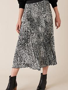 monsoon-animal-print-pleated-skirt-black