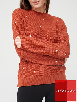 v-by-very-polka-dot-stitch-detail-knitted-jumper-rust