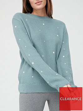 v-by-very-polka-dot-stitch-detail-knitted-jumper-sage