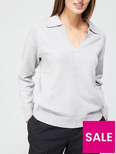 v-by-very-relaxed-fit-polo-knitted-top-grey
