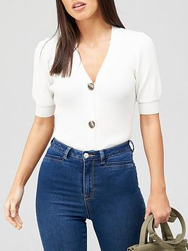 v-by-very-short-sleeve-button-up-knitted-top-white