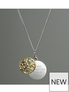 the-love-silver-collection-personalised-family-tree-sterling-silver-and-9ct-gold-plated-pendant-necklace