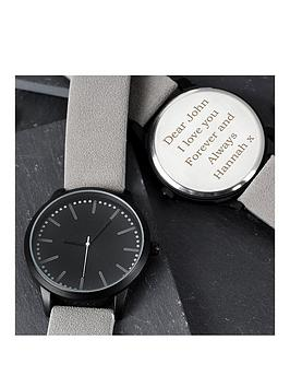 personalised-mens-matte-black-watch-with-grey-strap