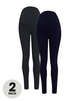 dorothy perkins maternity 2 pack overbump leggings - navy/charcoal, navy, size 6, women
