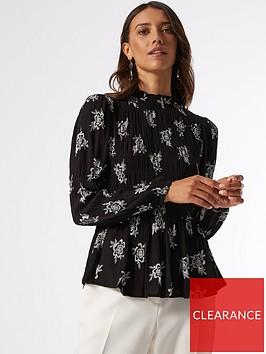 dorothy-perkins-shirred-body-long-sleeve-floral-top-black