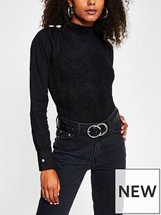 river-island-woven-arm-fluffy-knit-hybrid-jumper-black