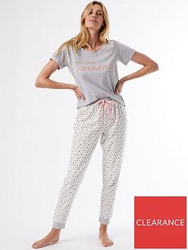 dorothy-perkins-bring-on-the-weekend-slogan-pyjama-set-grey
