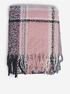 dorothy-perkins-boucle-check-scarf-pinknbsp