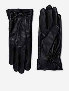 dorothy perkins ruched bow leather gloves - black
