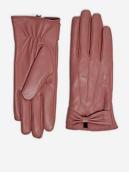 dorothy perkins ruched bow leather glove - pink