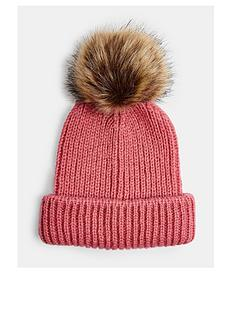 topshop-recycled-faux-fur-pom-pom-hat-pinknbsp