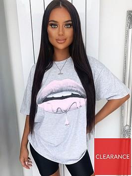 ax-paris-pink-lips-t-shirt-grey