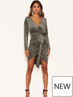 ax-paris-petite-petite-bodycon-wrap-sparkle-tie-dress-silver