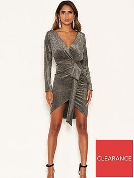 ax-paris-petite-petite-bodycon-wrap-sparkle-tie-dress-silver