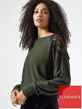 dorothy-perkins-lace-shoulder-brushed-top-khakinbsp