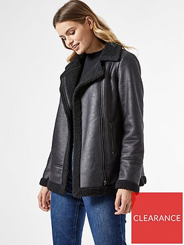 dorothy-perkins-coated-shearling-aviator-jacket-black
