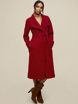 Dorothy Perkins Glossy Funnel Collar Belted Coat - Deep Red, Red, Size 16, Women
