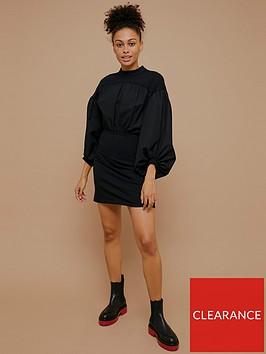 topshop-urban-poplin-jersey-mix-mini-dress-black