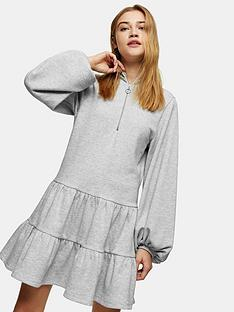 topshop-zip-up-jersey-tier-mini-dress-grey