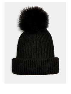 topshop-recycled-fauxnbspfur-pom-pom-hat-black