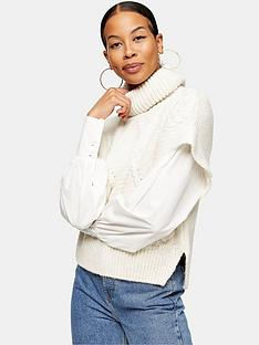 topshop-hybrid-roll-neck-jumper-cream