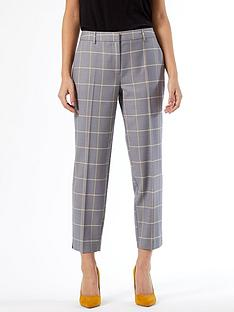 dorothy-perkins-petitenbspcheck-naples-ankle-grazer-trousers--nbspgreynbsp