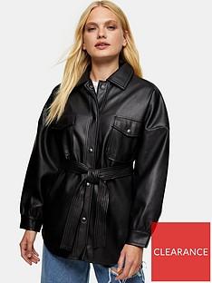 topshop-carlos-faux-leather-pu-tie-jacket-black