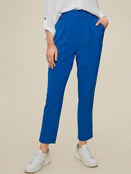 dorothy perkins high waist button detail trousers - cobalt, blue, size 10, women