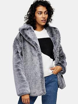 topshop-two-tone-faux-fur-coat-grey