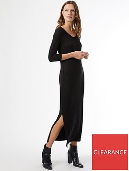 dorothy-perkins-cut-amp-sew-three-quarter-sleeve-tube-midaxi-dress-black