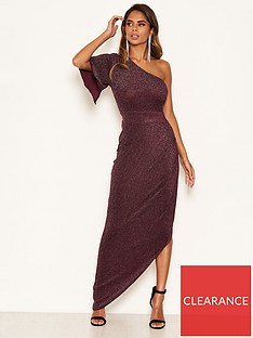 ax-paris-one-shoulder-sparkle-dress-plum