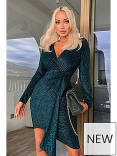 ax-paris-glitter-wrap-over-dress-teal