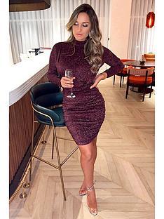 ax-paris-high-neck-ruched-sparkle-dress-plum