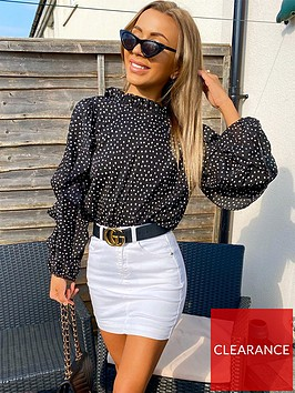 ax-paris-spotty-frill-sleeve-top-black