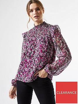 dorothy-perkins-ruffle-shirred-yoke-ditsy-blouse-purple