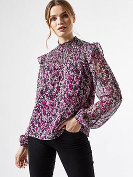 dorothy perkins ruffle shirred yoke ditsy blouse - purple, purple, size 8, women