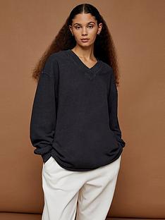 topshop-oversized-v-neck-sweatshirtnbsp--charcoal