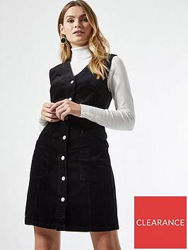 dorothy-perkins-button-down-v-neck-cord-pinny-dressnbsp-black