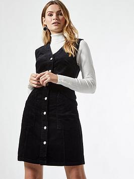 Dorothy Perkins Button Down V Neck Cord Pinny Dress  - Black