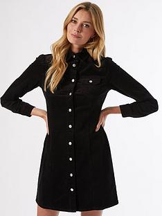 dorothy-perkins-structured-cord-shirt-dress-black