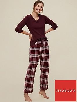 dorothy-perkins-lace-trim-top-and-check-pant-pyjama-set-oxblood