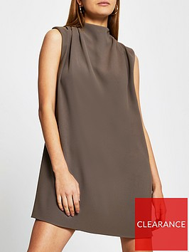 river-island-shoulder-pad-high-neck-mini-dress-stone